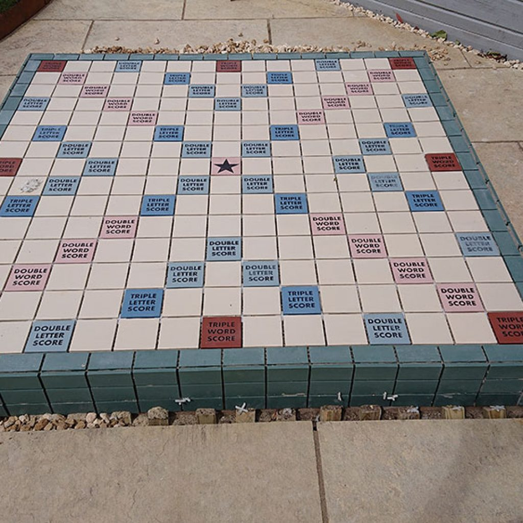 bespoke tiling scrabble board for a garden makeover