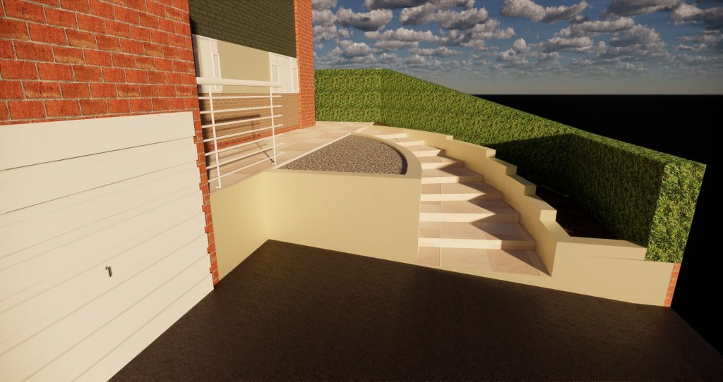 design for sloping front garden with retaining walls and curved steps