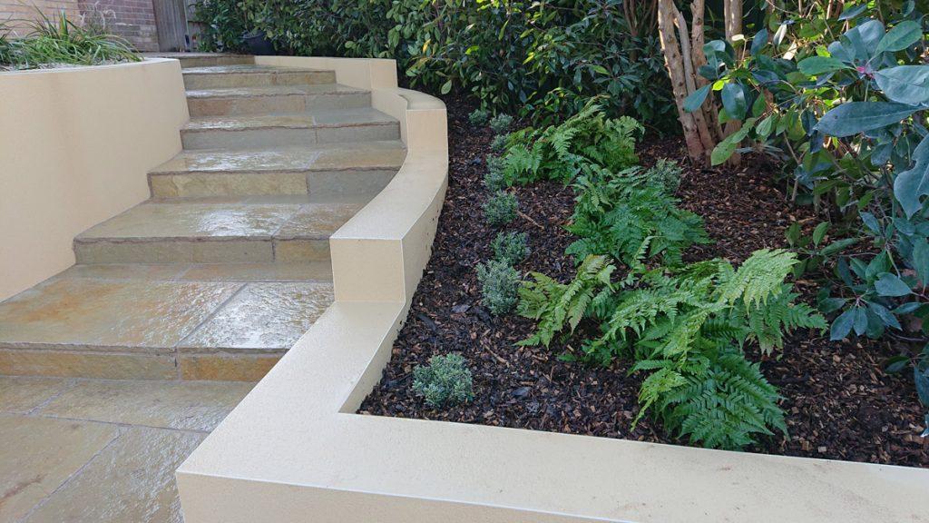 cream rendered garden walls