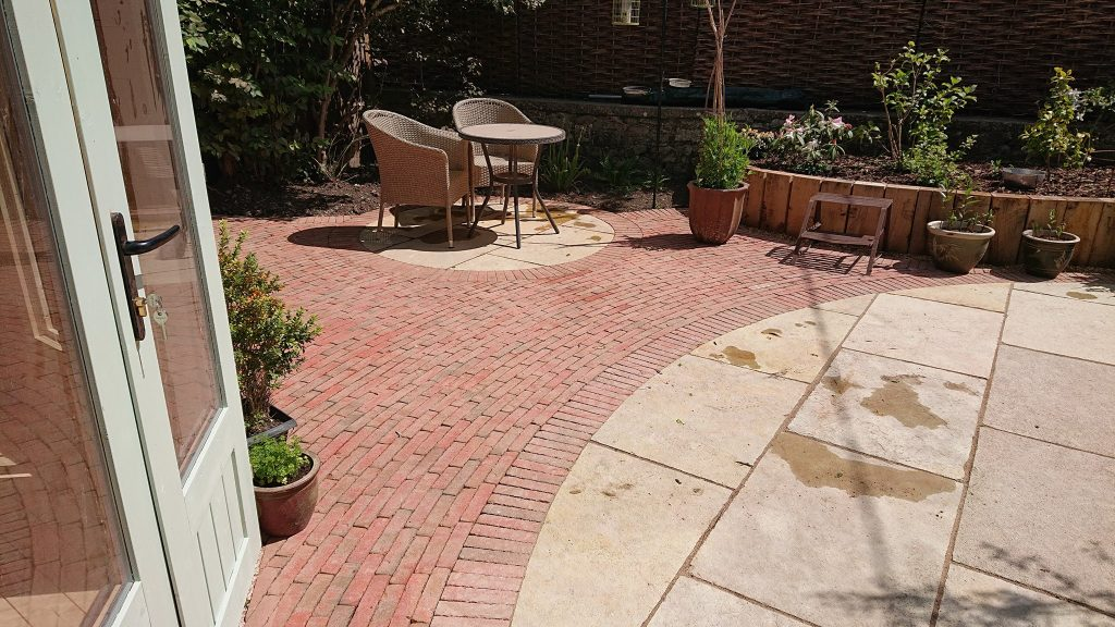 hard landscaping with pavers and bricks