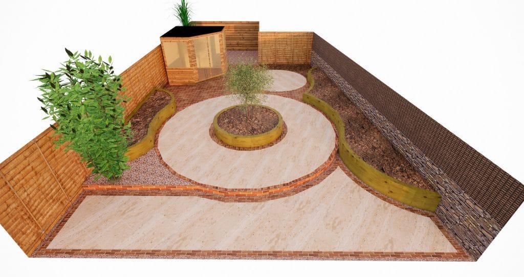design for back garden with no grass