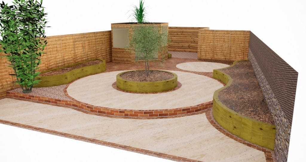 accessible garden with raised beds