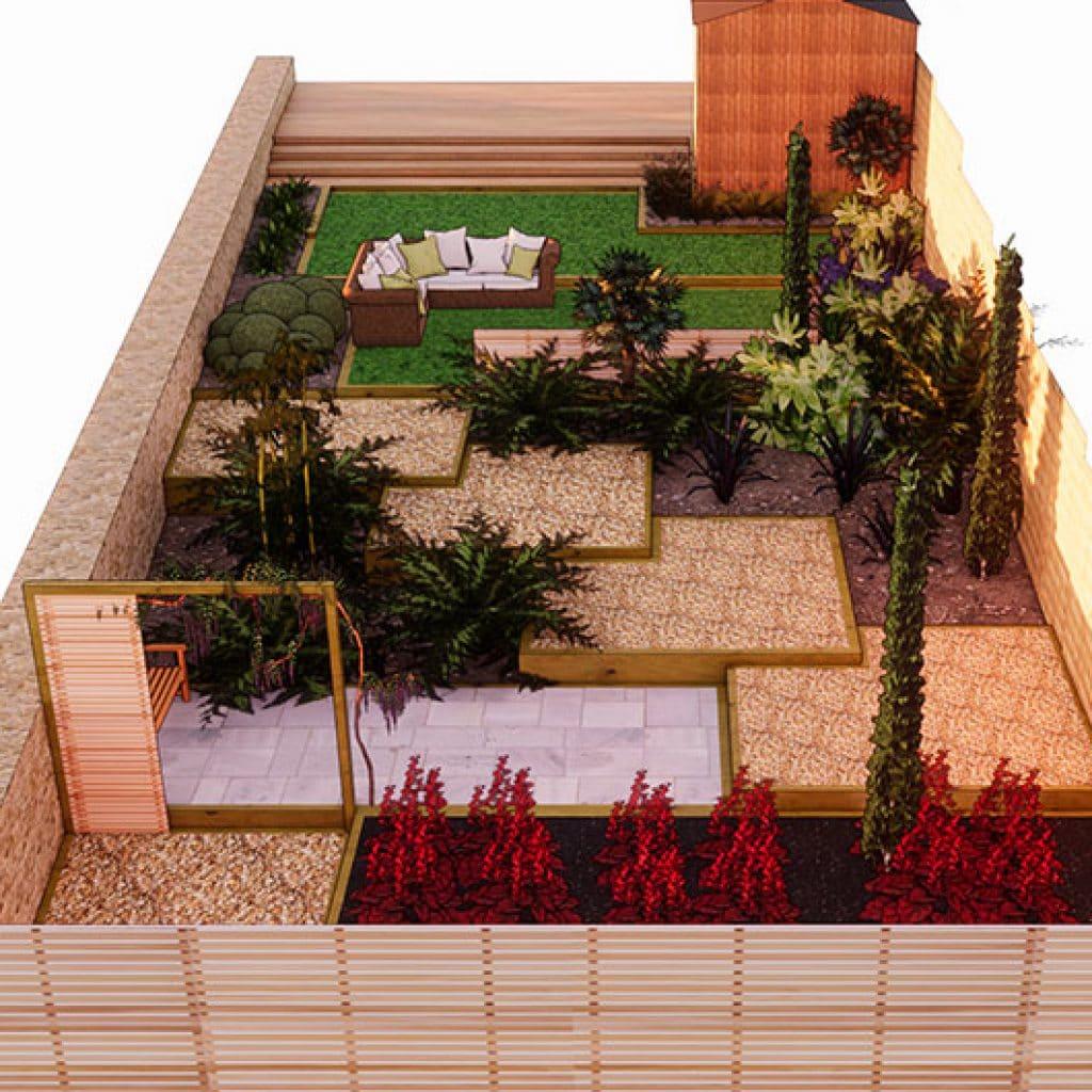 3d garden design for sloping back garden
