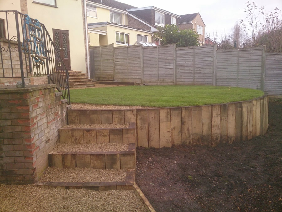 lawned terrace with offset steps