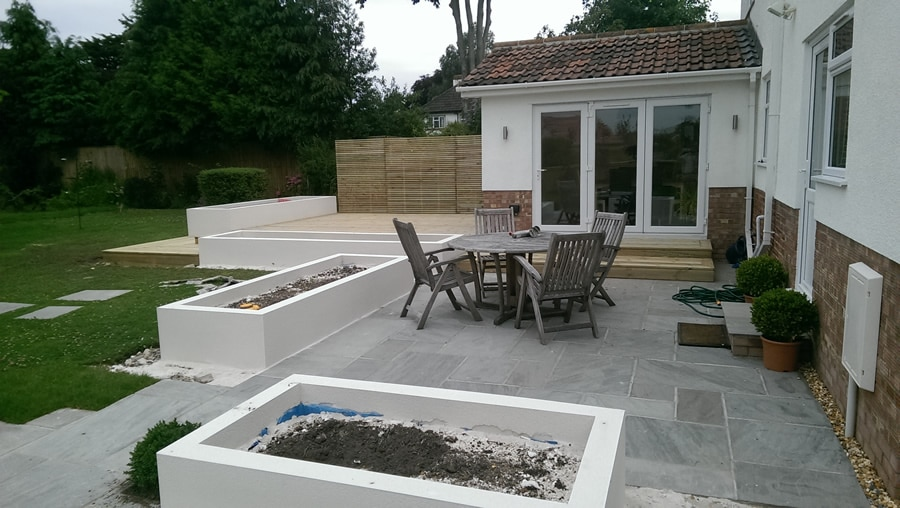 limestone patio with access from french doors