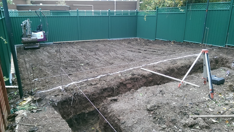foundations for a retaining wall and landscaping project