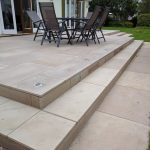 wide patio with inset lighting