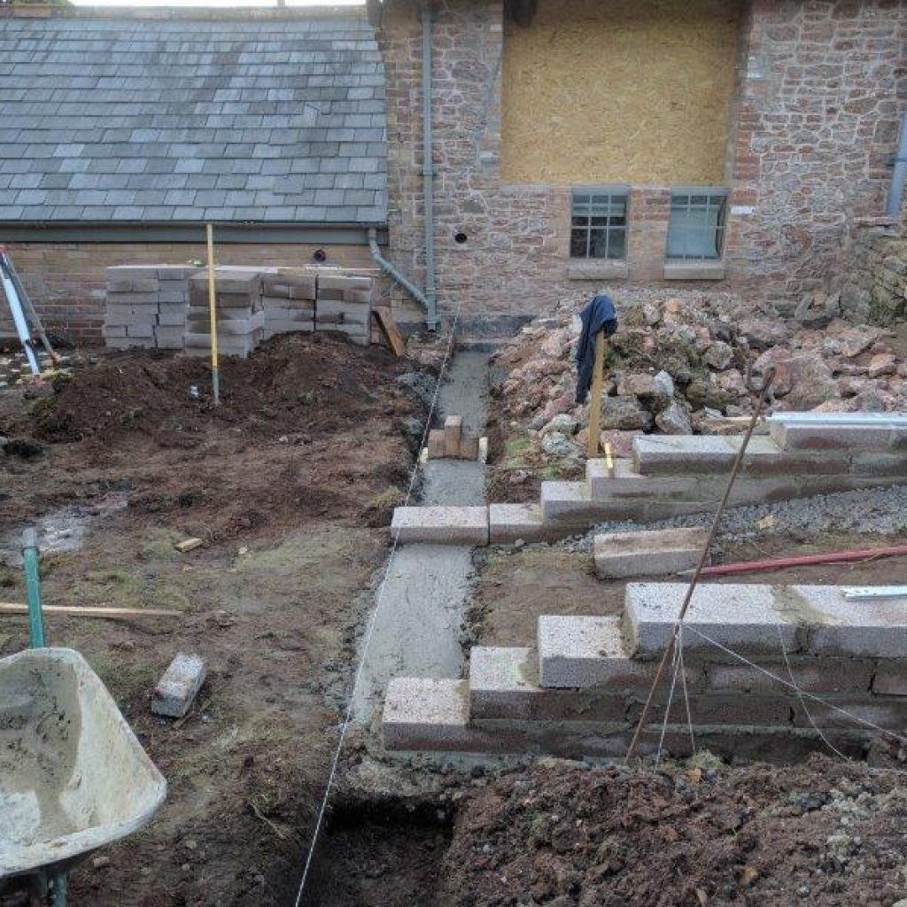 early stages of a garden makeover with groundworks