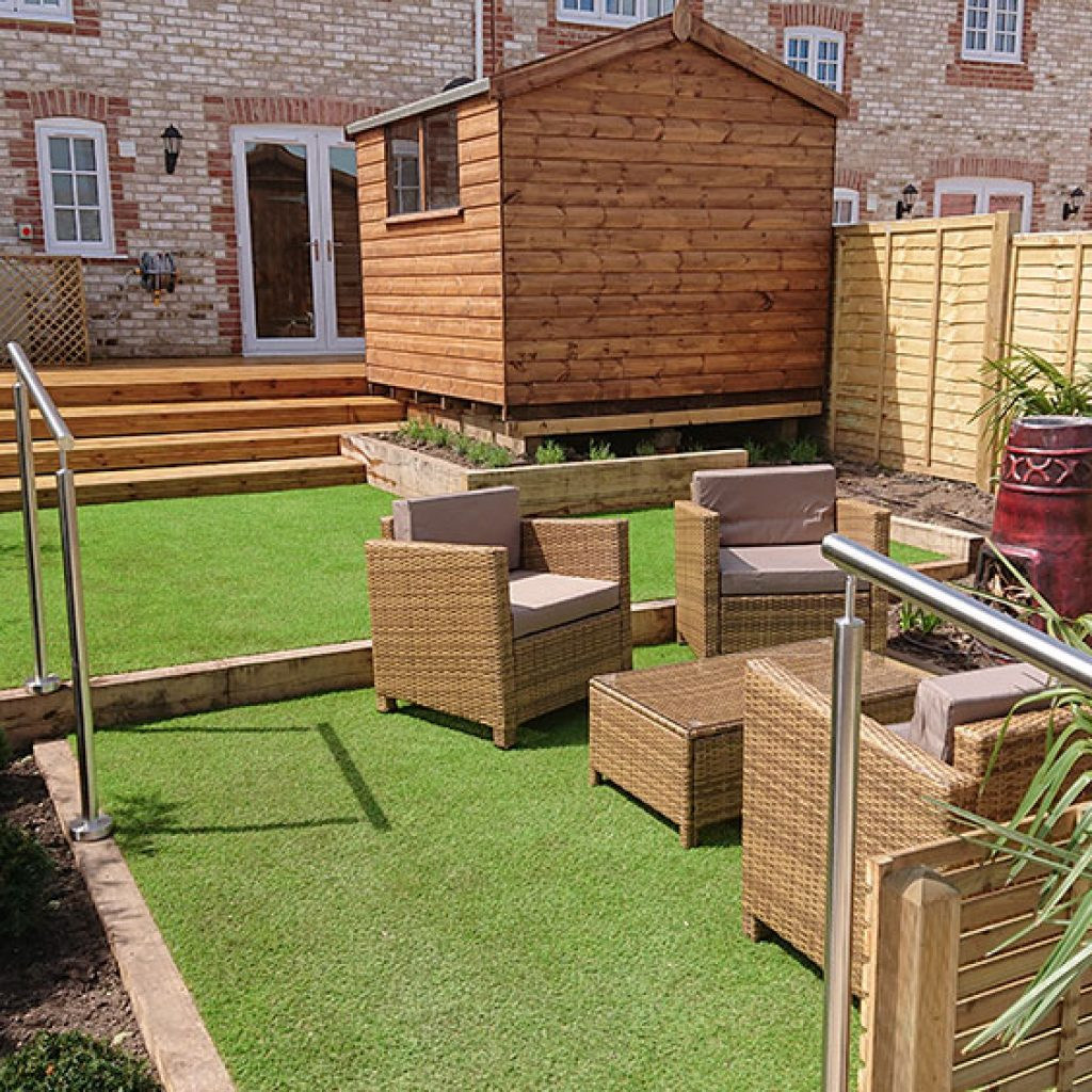 low maintenance lawn with seating