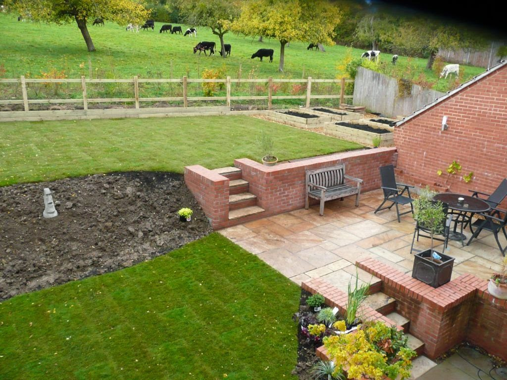 newly landscaped sloping garden