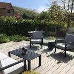 decked seating area in landscaped garden
