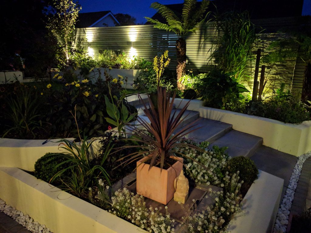 jungle themed planting scheme with lighting