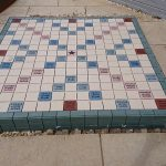 bespoke tiling scrabble board for a garden makeover