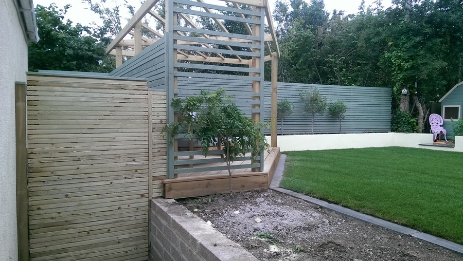 newly landscaped garden with fences cloaked in biodiverse planting