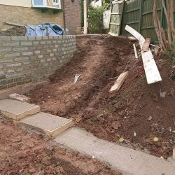 landscaping project in progress